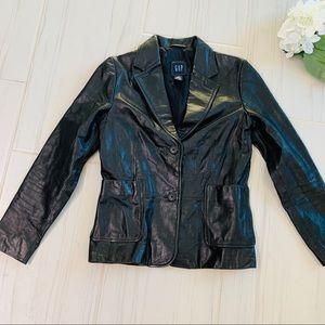 Gap Black 100% genuine Leather Jacket Blazer 4